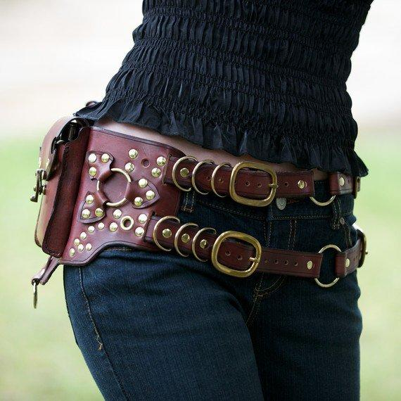 $300 Leather Steampunk Belt Bag by MisfitLeather on Etsy