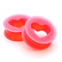 Pair of Pink Silicone Heart Tunnels set gauges plugs PICK SIZE CHOOSE SIZE