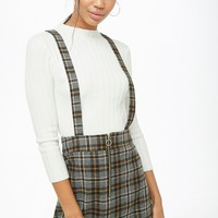 Pull-Ring Plaid Pinafore Dress