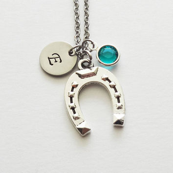 Horseshoe Necklace, Good Luck, Lucky, Cowgirl, BFF, Friend Gift, Swarovski Birthstone, Silver Initial, Personalized, Monogram, Hand Stamped