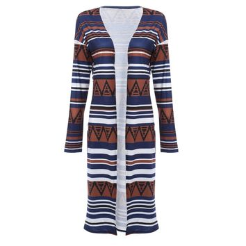 Ethnic Style Collarless Allover Tribal Print Cardigan for Women