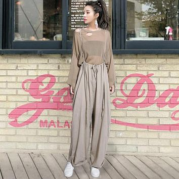 2017 Summer and Spring New Women Pants Korean Style Casual Women Pants Harness Cotton Loose Wide Leg Pants for Women Pants