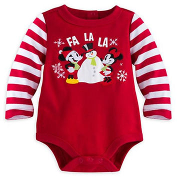 Disney Store Mickey & Minnie Mouse Holiday Long Sleeve Organic Bodysuit For Baby Girl & Boy 3-6M