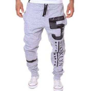 Hot Sale Beam Feet Letters Number Star Print Loose Fit Men's Lace-Up Sweatpants