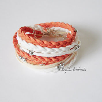 Orange Peach Suede cord double wrap bracelet