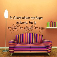 Wall Decals Prayer Vinyl Sticker Psalm Quote in Christ Alone My Hope Is Found He Is My Light My Strength My Song Home Design Interior Art Mural Dorm Decal Bedroom Decor KT149