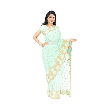 Pastel Green Pre-Pleated Ready-Made Sari