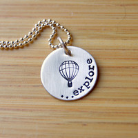 Graduation- Hand Stamped Explore Hot Air Balloon Necklace Sterling Silver for graduate
