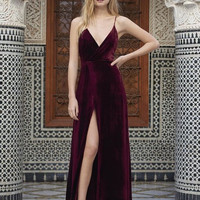 Velvet Prom Dresses, Split Long Prom Dress,Velvet Evening Dresses