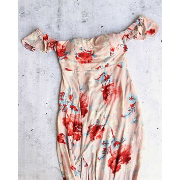 annabelle - floral maxi dress - beige