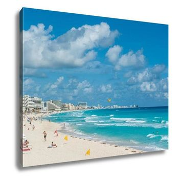 Gallery Wrapped Canvas, Cancun Beach Panorama Mexico
