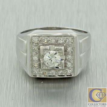 Mens 14k Solid White Gold 0.84ctw Round Cut White Diamond Pinky Ring