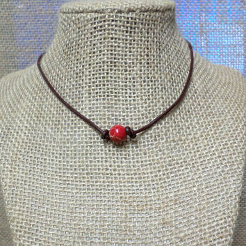 Smooth Red Imperial Jasper Semi-Precious Stone Genuine Leather Cord Choker Necklace Pearl Slip Knot Closure