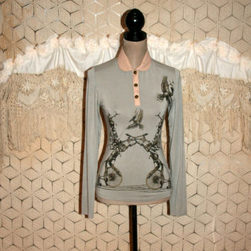 Womens Long Sleeve Top XS Small Fitted Edgy Goth Steampunk Graphic Pterodactyl Pullover Gray Top Faux Leather Collar & Trim Womens Clothing