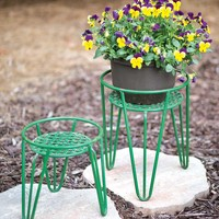 Green Plant Stands - Set Of Two