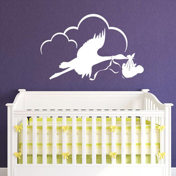 Stork with Baby Decal - Baby Wall Decals Wall Vinyl Decal Sticker Decor Childrens Room Decor Kids Room Vinyl Wall Decal Nursery Decor SV5442