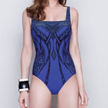 Gottex 15SR172 Stardust Square Neck One Piece Swimsuit