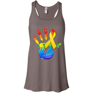 ribbon yellow with color hands artwork - Sarcoma Awareness Week  Bella + Canvas Flowy Racerback Tank