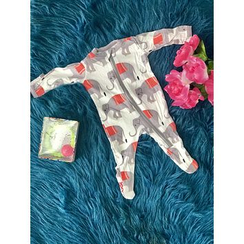 2019 Summer Kickee Pants Natural Indian Elephant Footie