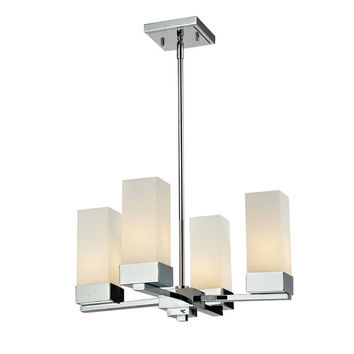 Z-Lite 190-4 Sapphire Four-Light Chrome Chandelier with Rectangular Matte Opal Glass Shades