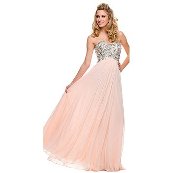 Sparkly Prom Dress Nude Floor Length Strapless Empire