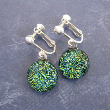 Green Clip on Earrings, Dichroic Clip Earrings, Non Pierced Earrings, Earring Jewelry - Terese - 0103 -2