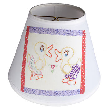 Hand Embroidered Vintage Two Ducks Fabric on New Lampshade