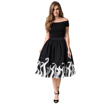 American Style Mini Knee Length Skater Midi Skirt
