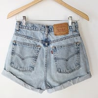 Vintage 80s Light Denim High Waisted Levi Cut Offs // Levi's Cut Off Shorts