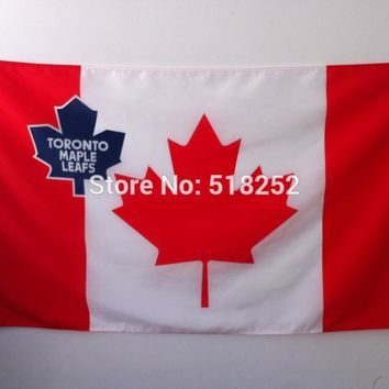 NHL Toronto Maple Leafs Flag with Canada- Flag Banner  3x5 FT 150X90CM Flag100D Polyester flag 1123, free shipping