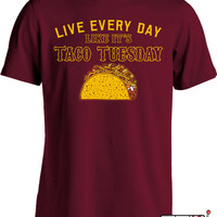 Funny Taco Shirt Live Everyday Like It's Taco Tuesday T Shirt Cinco De Mayo Shirt Fiesta Ladies Mens Tee MD-379