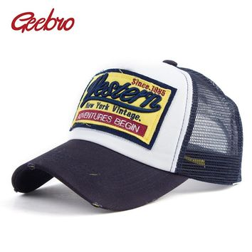 Trendy Winter Jacket Geebro WESTERN Letter Embroidery Baseball Cap Summer Mesh Net Breathable Snapback Caps For Men and Women Gorras Hombre Dad Hats AT_92_12
