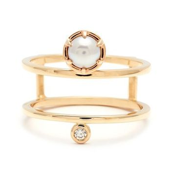 Anna Sheffield 'Reverse Attelage' Double Band Pearl & Diamond Ring | Nordstrom