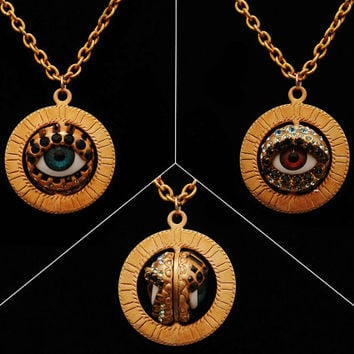 Eye Talisman Spinner Pendant Necklace -Blue and Brown Eye - 2 sided bronze color with Swarovski crystal in green, black & blue - Evil eye