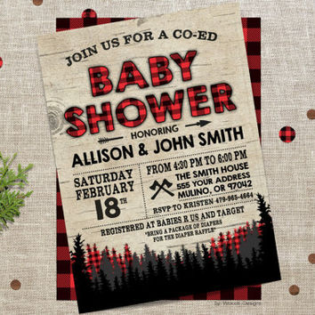 plaid baby shower, lumberjack baby shower, baby shower, shower invitations, baby shower ideas, flannel, baby shower party, baby shower games