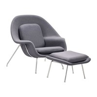 Nursery Chair And Ottoman Gray Chromed Steel