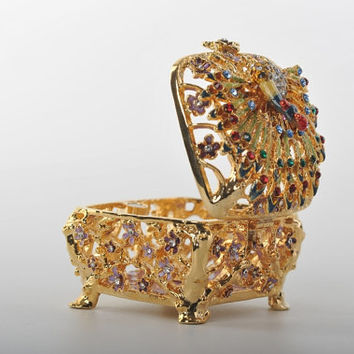 Faberge Style Trinket Box with a Peacock by Keren Kopal Decorated with Swarovski Crystals