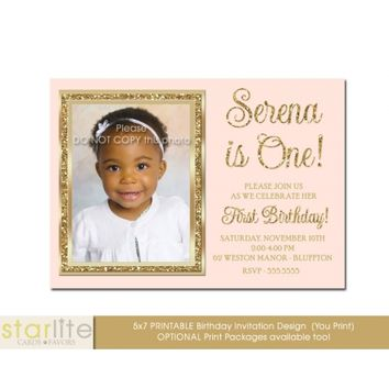 Blush Pink First Birthday Invitation, photo, 1st or ANY AGE, pink gold glitter, sparkly, glam unique Printable Design or Printed Option