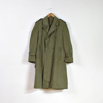 1959 Belgian Army Montex Coat /  50s Military Khaki Canvas Peacoat / Men Size M - small L