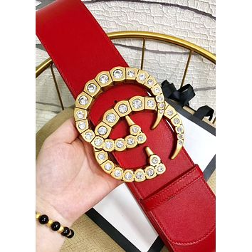 GUCCI hot seller for stylish women with large diamond and gold buckle casual belts
