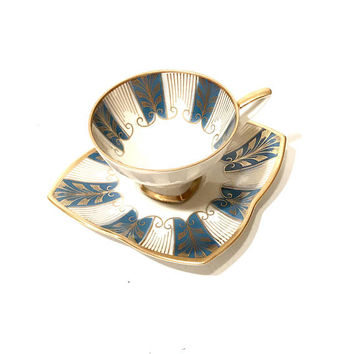 Art Deco Alka Kunst Demitasse Cup, Teal And White, Gilded Feather Design, Striped Panels, Bavaria, West Germany, Vintage 1950s, Gift For Her