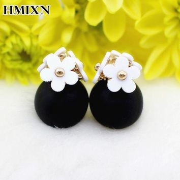 New Flower Front Back Crystals Geometry Earring Cute Double Sided Piercing Ball Stud Earrings For Women Brincos Pending Jewelry