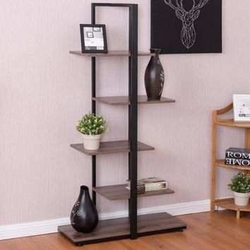 """Modern Open Concept 5 Tiers Bookcase 60"""""""