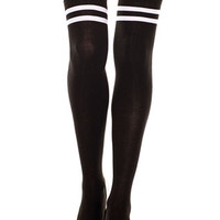 Trashy.com - Lingerie - panties - hosiery - swimsuit models - sexy lingerie - Double Stripe Knit Thigh High Socks
