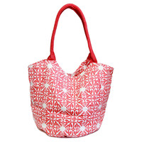 Tile Print Bucket Bag, Red, Totes