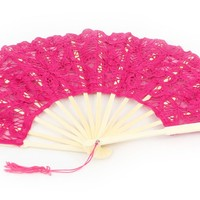 Lovely 10 inch Battenburg Lace Fan in 12 Assorted Colors
