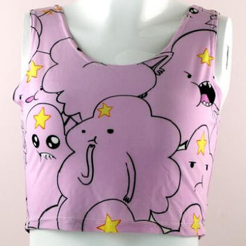X-326 Adventure Time Lumpy Space Princess Tank tops Fashion Summer Women Sexy crop tops Girl T-shirt Cap