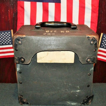 Vintage Military File Box, Military Tote, Authentic, Military Reenactment, US WW2 Era.