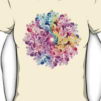 Rainbow Watercolor Paisley Flower Women's T-Shirt
