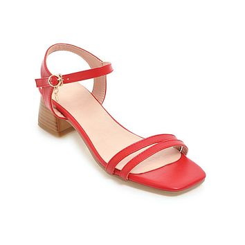 Faux Leather Mid Heel Sandals Summer Shoes 5953